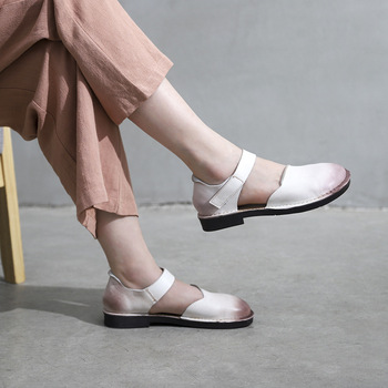 829-5 New Original Handmade Cowhide Leather Sandals Retro Wipe Color Literary Soft Bottom Flat Women Shoes