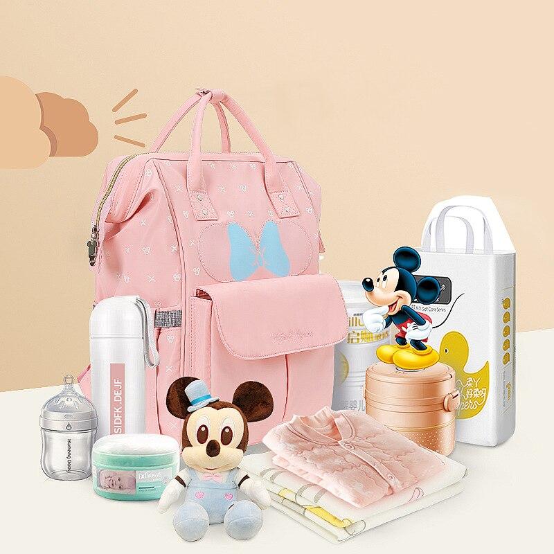 Disney Mocha Cute Waterproof Diaper Bags USB Bottle Feeding Travel Backpack Baby Bags For Mom Storage Bag Mummy Bags bag