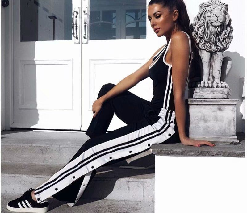 HOUZHOU Summer Fashion High Waist Wide Leg Pants Loose Striped Panelled Button Patchwork Ankle Length Pants Casual Streetwear