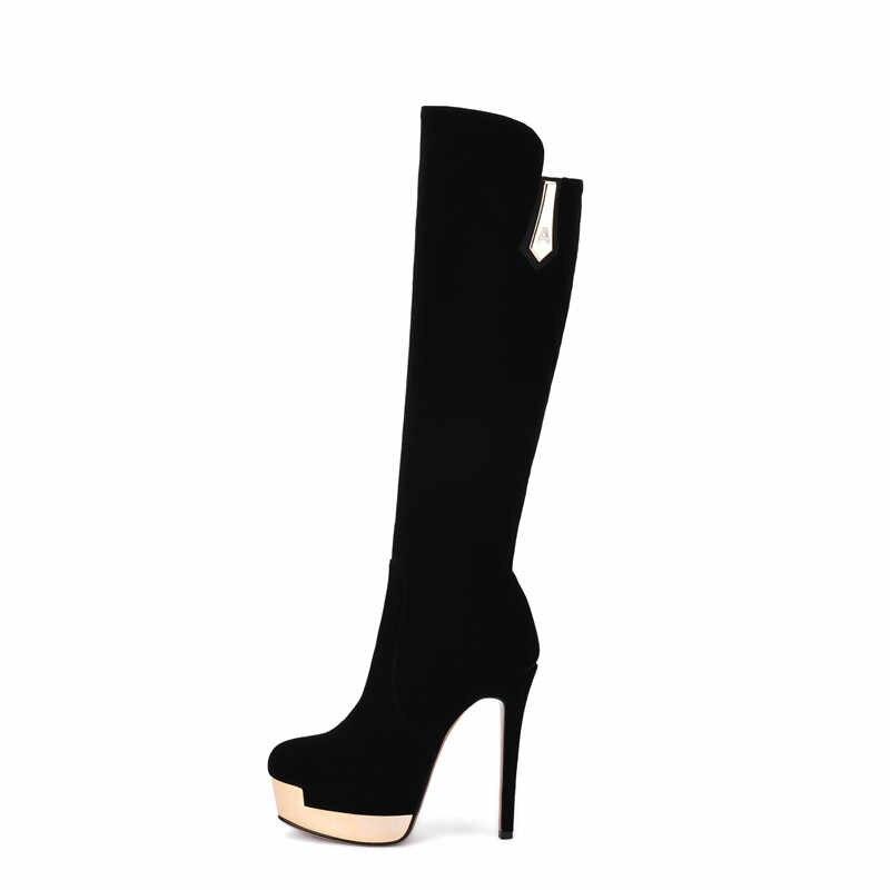 MORAZORA/флоковые однотонные сапоги до колена на молнии; сезон осень-зима; сапоги на платформе; женская обувь на высоком каблуке; Модная элегантная женская обувь