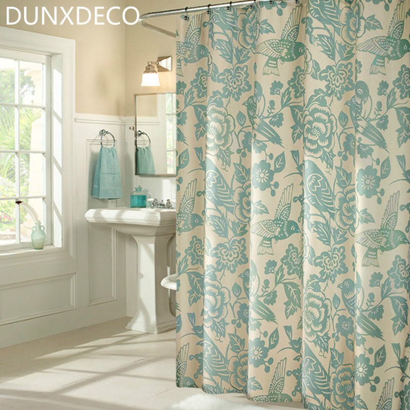 DUNXDECO 1PC 180x200CM Vintage Country Style Birds Flower Polyester Shower  Curtain Bathroom Waterproof Curtain Home Decoration