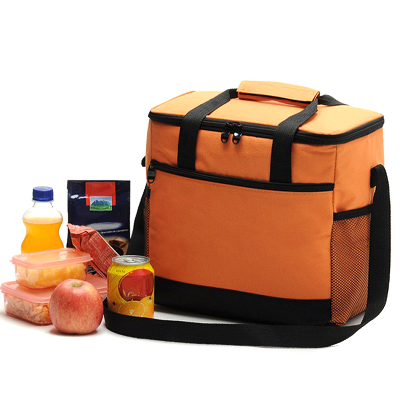 16L Large Lunch Bag Double Zipper Handbag Travel Picnic Portable Insulated Cooler Shoulder Bags AB@W3