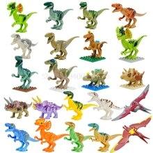 Única Venda Jurrassic Legoingly Conjunto Mundo Velociraptor Jurassic Dinossauro Azul T-Rex Building Blocks Define Modelo Brinquedos para Crianças