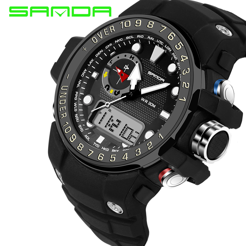 Vente chaude marque SANDA S-Numérique LED sport choc montre hommes Casual multifonction montre-bracelet militaire 30 m d'eau-résistant