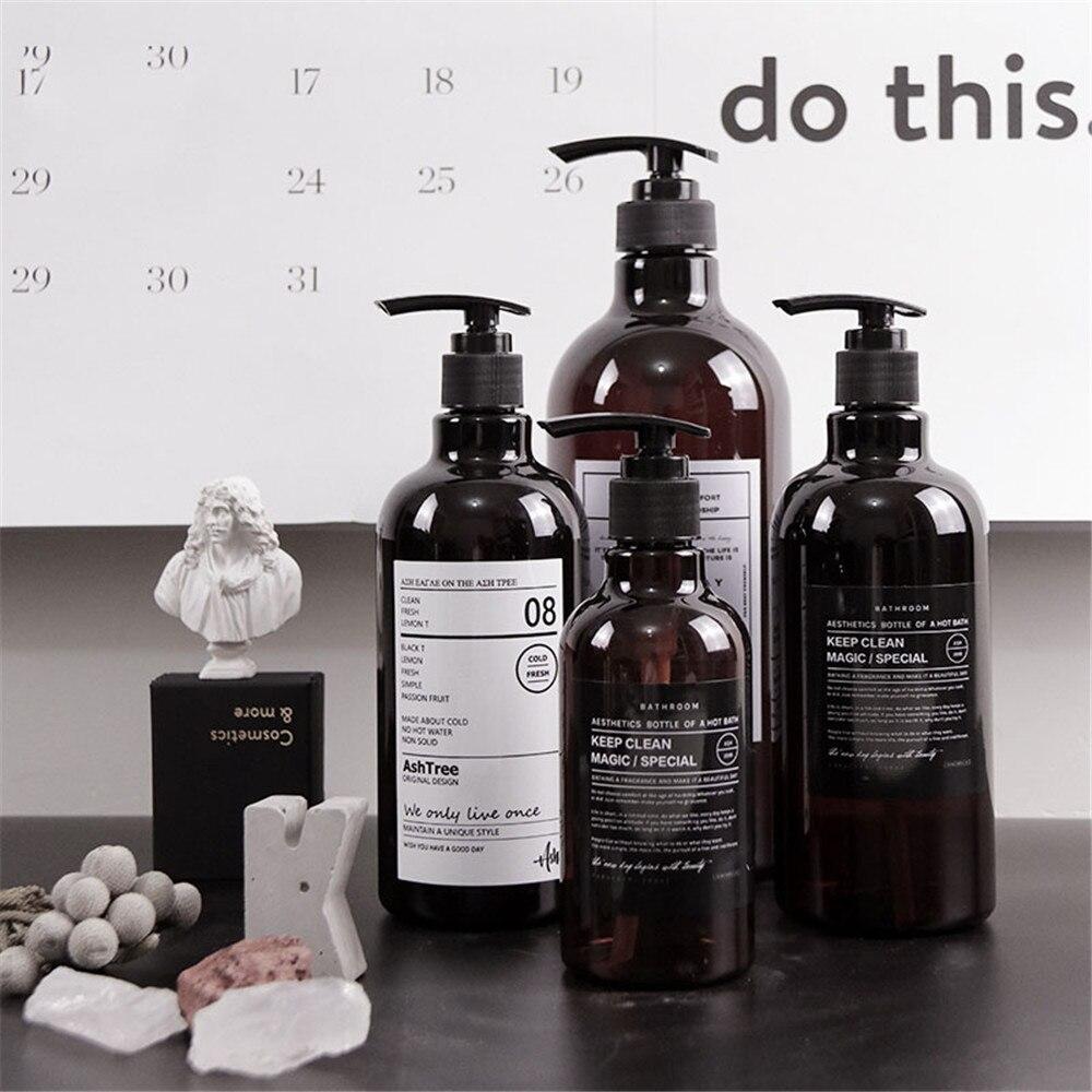 250 ml 500 ml 1000 ml escandinavo baño de marrón champú botella de almacenamiento botella de moda Chic líquido de la botella de la loción de viaje elegante de almacenamiento botella de botella