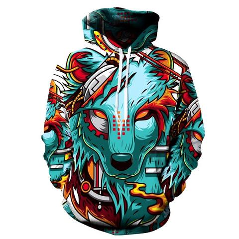 Autumn Winter New Fashion Thin Cap Sweatshirts 3d Print Wolf Women Hooded Hoodies Casual Hoody Tops Plus Size