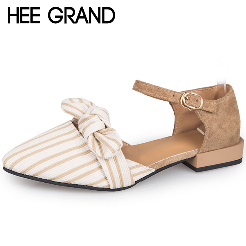 HEE GRAND Flock Woman Pumps Shoes Woman Slip On Butterfly-Knots Buckle Strap Comfortable Casual Women Shoes XWZ5205