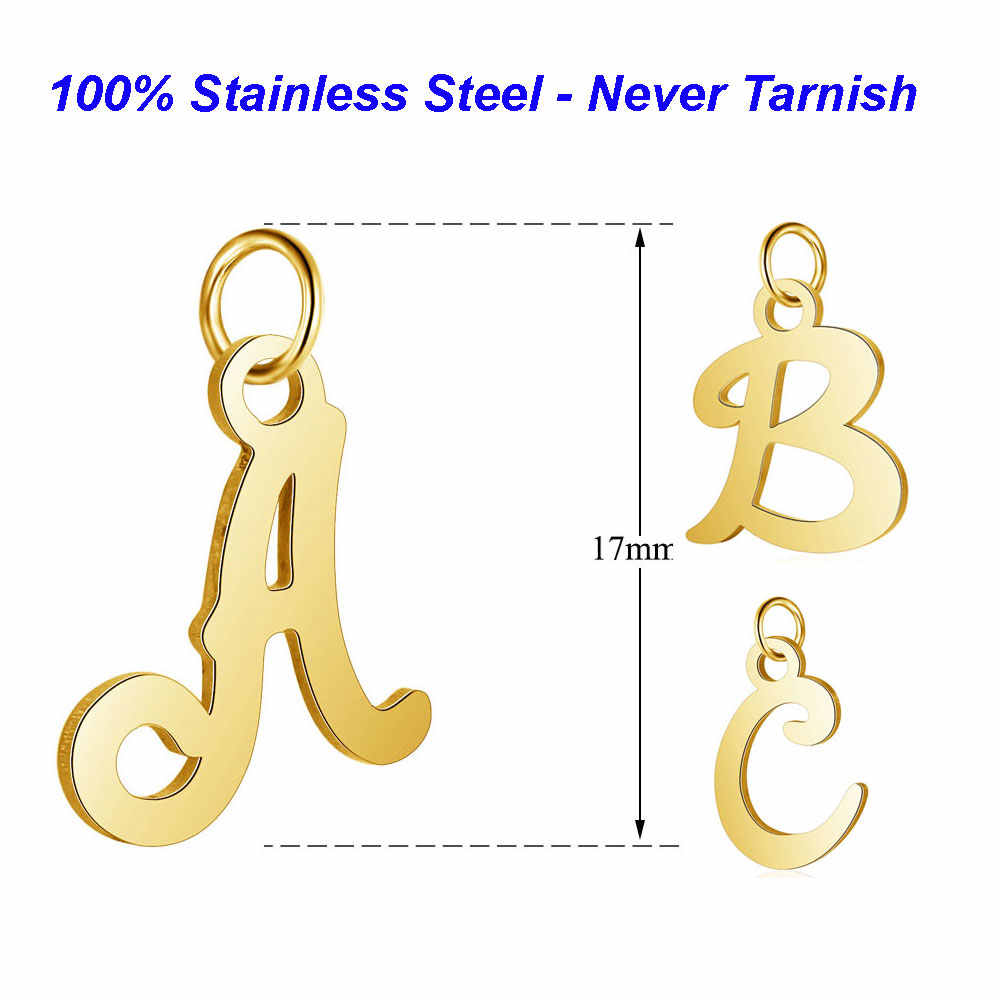 5pcs/lot 100% Stainless Steel Alphabet Charms Vnistar Initail Handmade Jewelry Finding Supplies A-Z English Letter Pendants