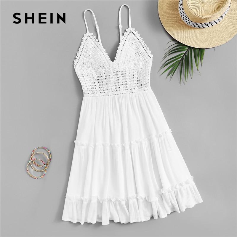 SHEIN Boho белое платье с оборками на спине, с оборками, с отделкой крючком, без шнуровки, на бретельках, летнее женское платье с оборками на талии...