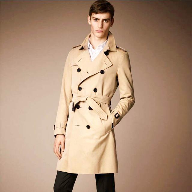 Blusão dos homens Double Breasted Trench Coat Casaco de Algodão À Prova D' Água dos homens Jaquetas E Casacos Longos Homens Casaco Jaqueta