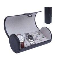 2017 Envío Gratis Punto Cilindro Relojes Caja de Cuero de LA PU de Dos Relojes Al Por Mayor Cajas de Joyas Pendientes Anillo de Caja de Embalaje de Fábrica
