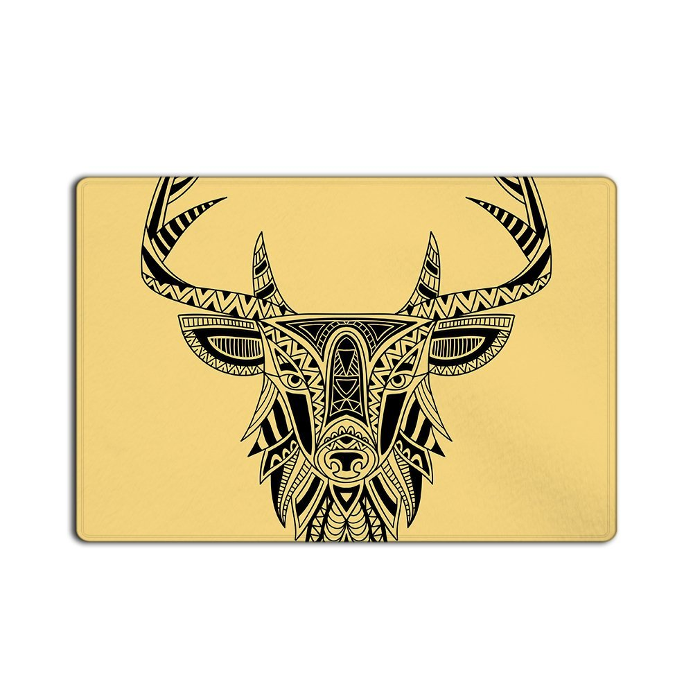 Fashion Custom Door Mats Abstract Art Design Deer Head Door Custom Doormat Machine Washable Home& Kitchen Doormat 23.6X15.7