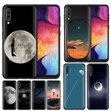 Black and white airplane moon Silicone Soft Case for Samsung Galaxy A50 A40 A70 A30 A20 A80 A6 A7 A8 Plus A9 2018 Black Case Coq