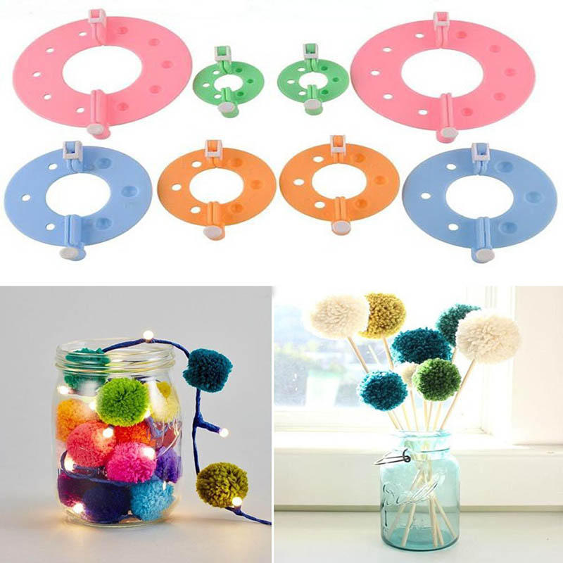New 8 Pcs/set 4 Szie Pom Poms Maker Fluff Ball Flower Weaver Needle Knitting DIY Tools For Wedding Home Party Decorations Tools