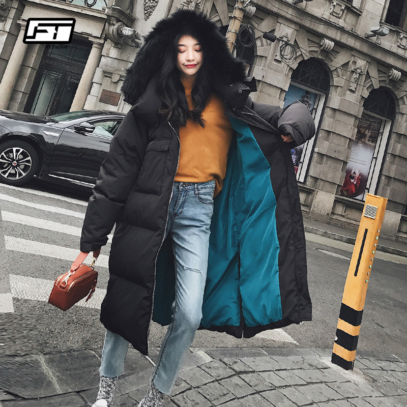 Fitaylor Thicken Warm Winter   Down     Coat   Women Large Real Natural Fur White Duck   Down   Parka Hooded Outerwear Winter Jacket Women