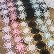 Width 5cm Embroidered Polyester Crocheted Lace Ribbon Floral Decoration For DIY Cloth Handmade Crafts Patchwork Accessories