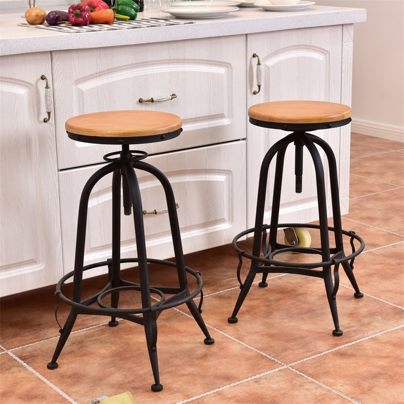 Set Of 2 Height Adjustable Vintage Bar Stools Industrial Swivel Wooden High Chairs With A Footrest HW53864