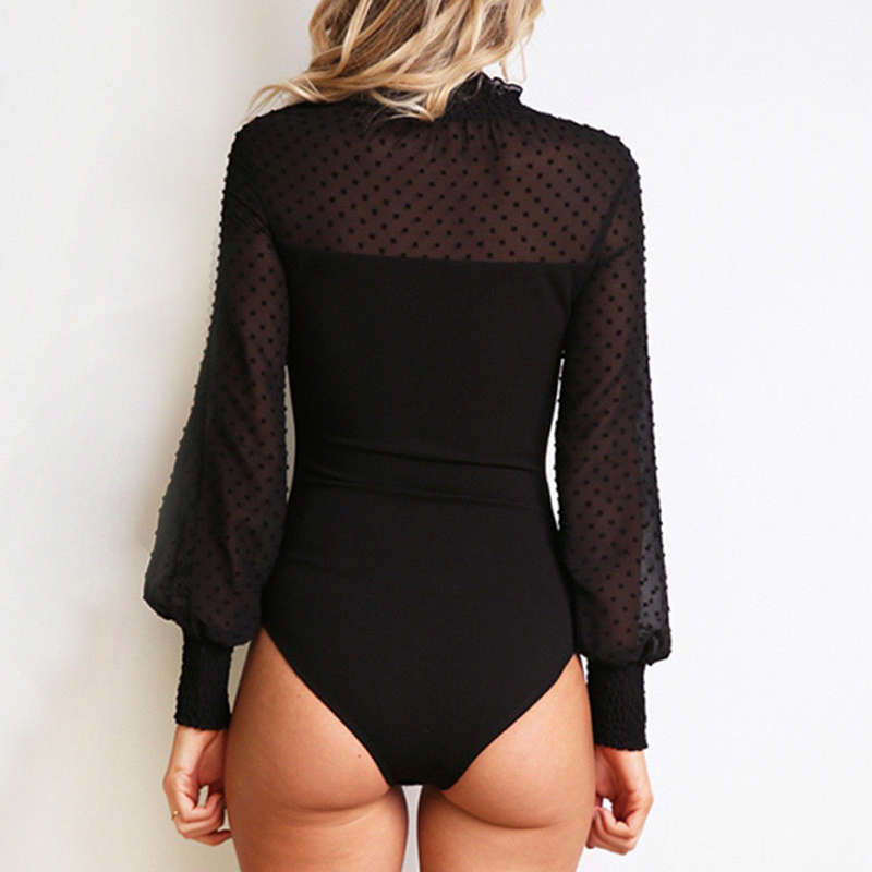 2019 Women Patchwork Mesh Bodysuit Sexy High Neck Long Sleeve Romper Ladies Body Suit Overalls Elegant Ladies Fashion Playsuits
