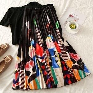 Image 3 - Falda larga plisada de talla grande para mujer, Falda plisada blanca y negra con estampado de dibujos animados, falda elástica informal de cintura alta para verano 2019