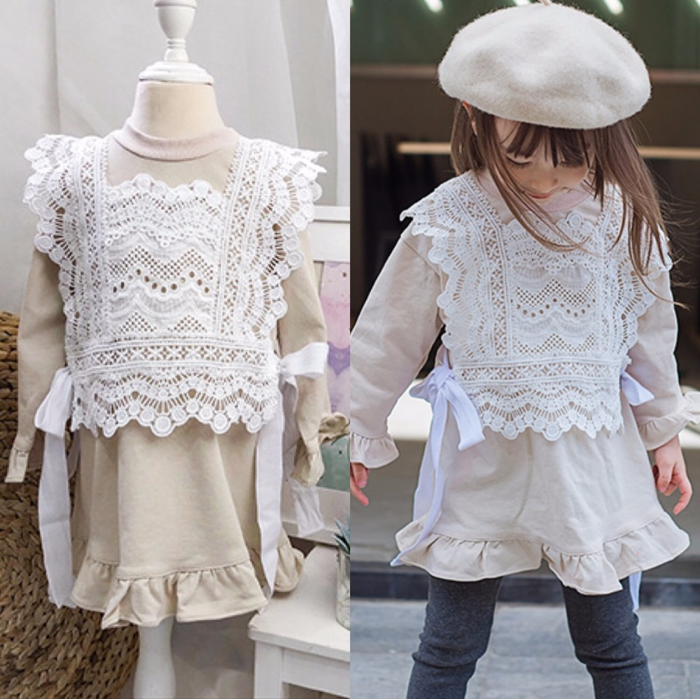New spring girls sets lace vest + long sleeve dress boutique kids clothing toddler girl outfits