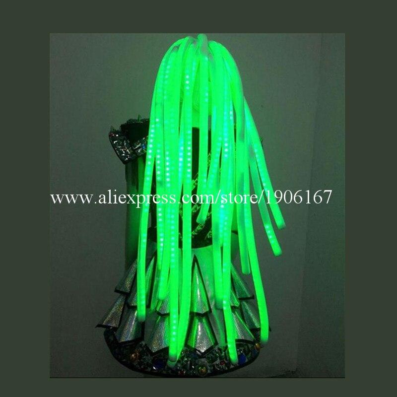 3 цвета со светодиодной подсветкой волосы светлые Косплэй Искусственные парики Хэллоуин Рождество Головные уборы для вечеринок Танцы бар DJ