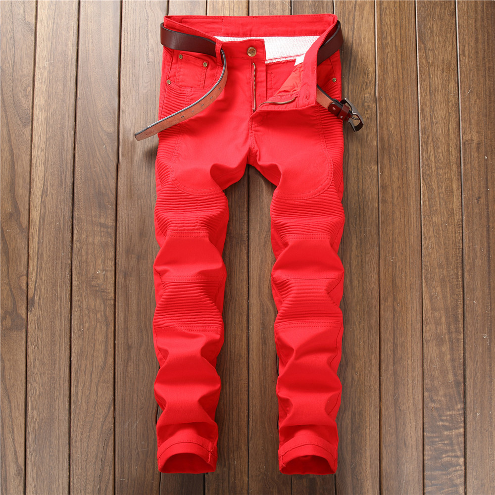 Jeans men 2018 spring skinny jeans men pleated solid red and black slim high street style mid waist straighted full length