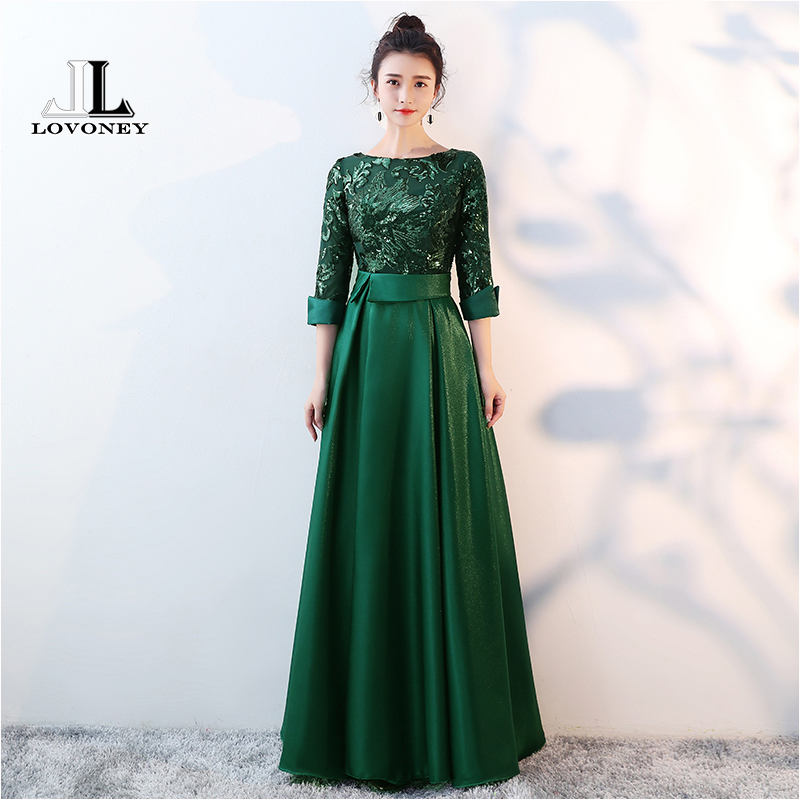 LOVONEY 2019 New Elegant A Line Sequins Satin Evening Dresses Long Formal Dress Woman Occasion Party