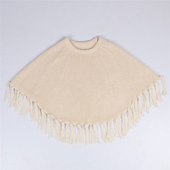 Kids Girls Cute Crochet Tassels Sweater Capes Poncho Candy Beige Gray Color Sweet Children Fashion Spring Autumn Jackets
