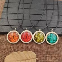 2019 Fashion Necklace Wood Wooden Pendant Rope Time Gem Evil Eyes Demon Eye Classic Ghost Party Male Gift AA061-072(China)