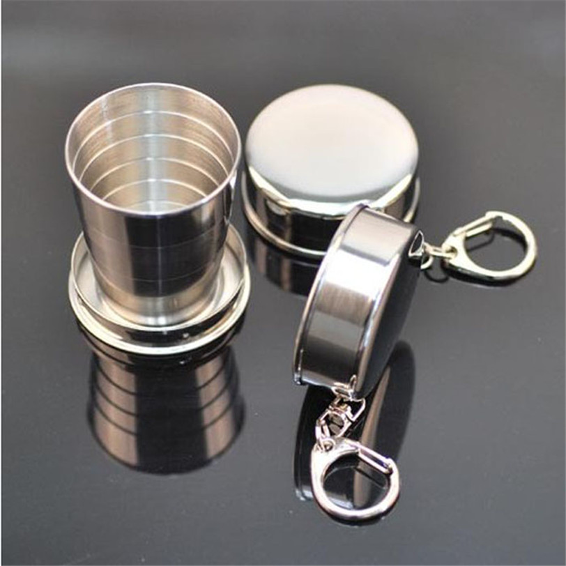 Telescopic Collapsible Stainless Steel Shot Glass Key Ring Bicycle Bottle Holder accessories keychian Multifunction camping 2017