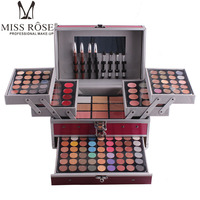 Miss Rose makeup set 10 styles Aluminum cosmetic sets for gift 94 color shimmer eyeshadow contour powder 3 layers MS067 Eyeshadow