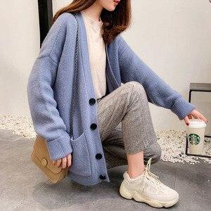Image 4 - Suéteres de moda para mujer, cárdigan de talla grande informal de Color sólido, suéter para mujer, ropa de abrigo de bolsillo elegante a la moda para otoño 2020