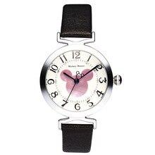 Disney бренда Детей Кварцевые часы 30 м водонепроницаемый Микки девушка Аниме Мультфильм Алмаз дети часы Кожа часы