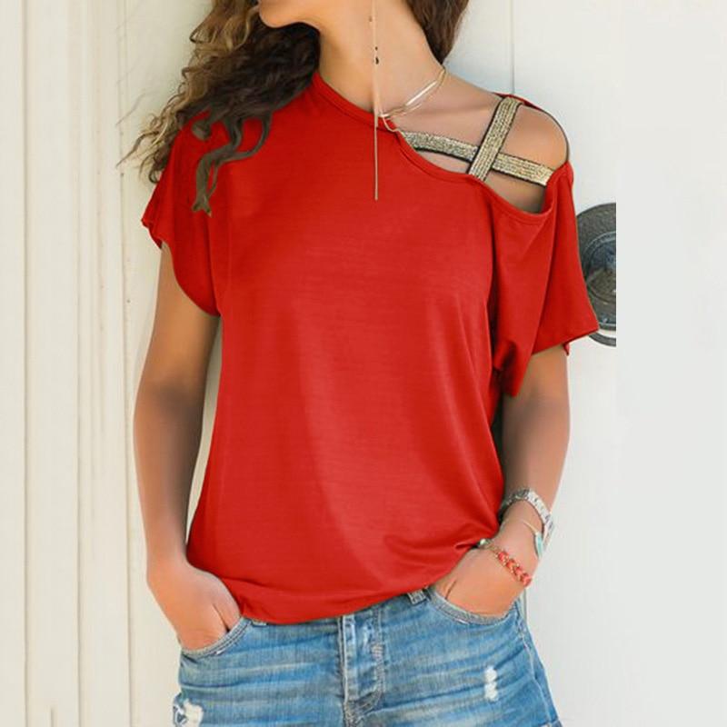 S 5XL Women Skew Neck Irregular Criss Cross Blouse Patchwork Solid Tops Blusa Femme One Shoulder
