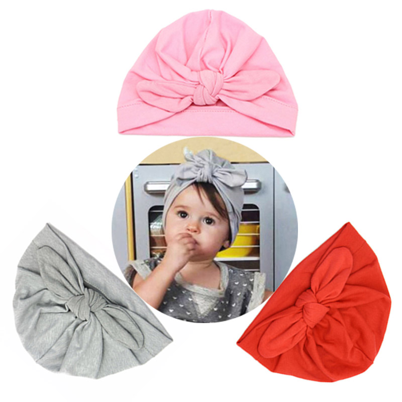2018 winter autumn Baby bowknot tie Hat Solid Cotton baby Girls Hats capos Newborn Candy Color Beanies baby Accessories