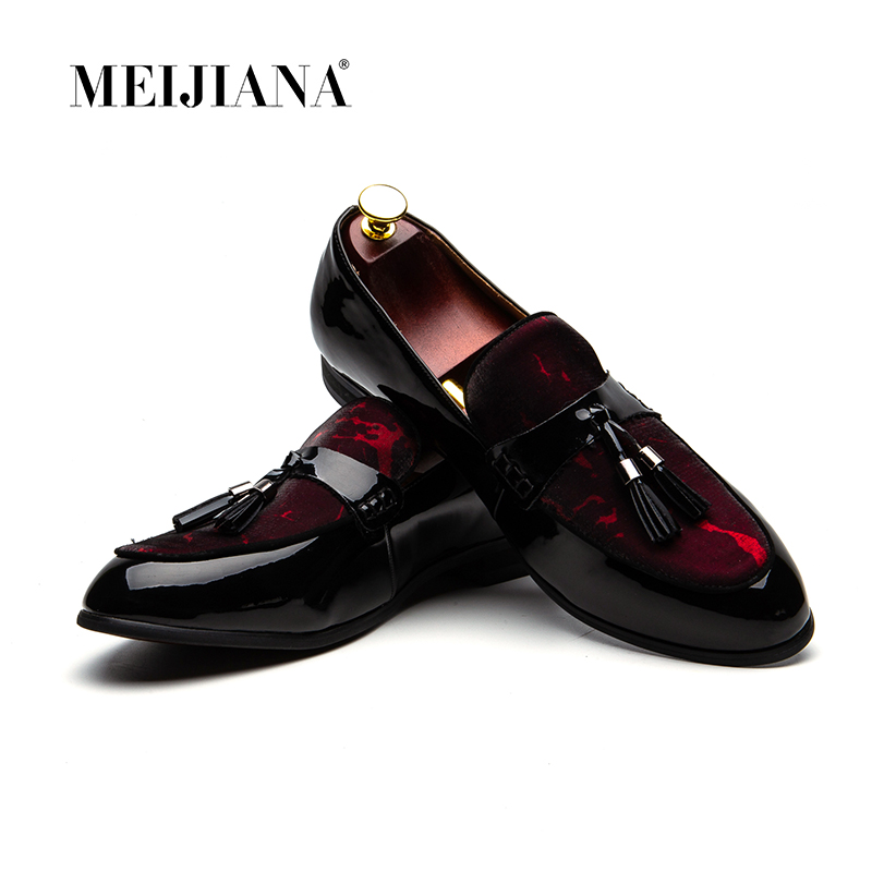 Meijiana Men's Shoes Men Loafers Slip-On Fashion Brand Red Soft Breathable Mocassins