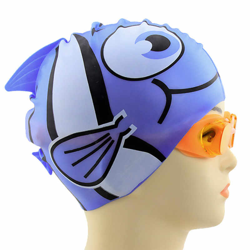 New Children Cartoon Swimming Cap Silicone Diving Waterproof Swim Hat Kids Girl Boy Favor Bathing Cap With Fish Shark Pattern