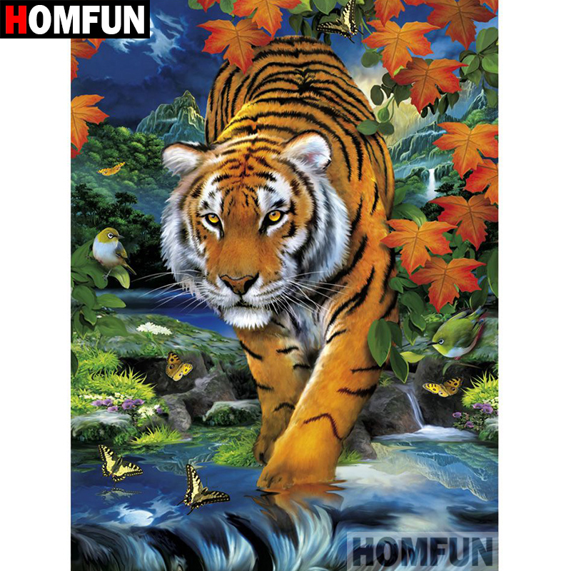 HOMFUN 5D DIY Diamond Painting Full Square Round Drill quot Animal tiger quot Embroidery Cross Stitch gift Home Decor Gift A09230 in Diamond Painting Cross Stitch from Home amp Garden