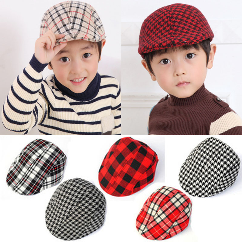 Cute !! Lattice Series Design England Style Children Fashion Cap Summer Berets Baby Hat Boy Caps For Child Girl Berets Kids Hats(China)