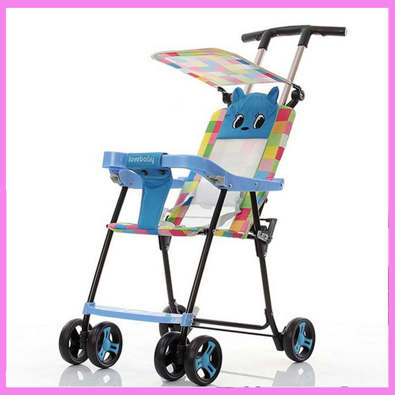 Cartoon Stroller Easy Baby Umbrella Light Portable Folding Stroller for Travel Car Lightweight Pram Pushchair Summer Sunshade