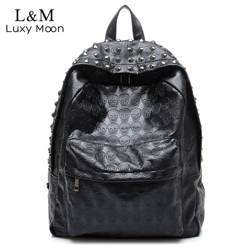 Cool Skull Backpack Fashion Women Leather School Bag For Teenage Girls Travel Backpacks Rivets Rucksack Mochila Black Xa637