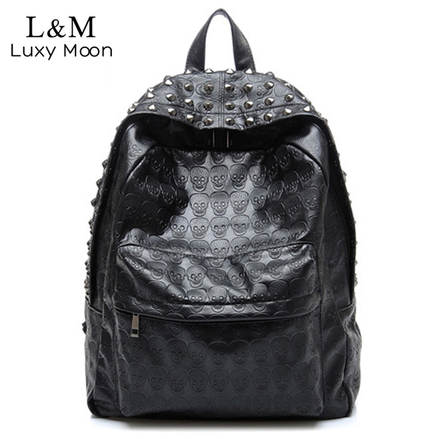 2018 Cool Skull Backpack Fashion Women Leather School Bag For Teenage Girls Travel  Backpacks Rivets Rucksack mochila Black XA637 1a44ab1387