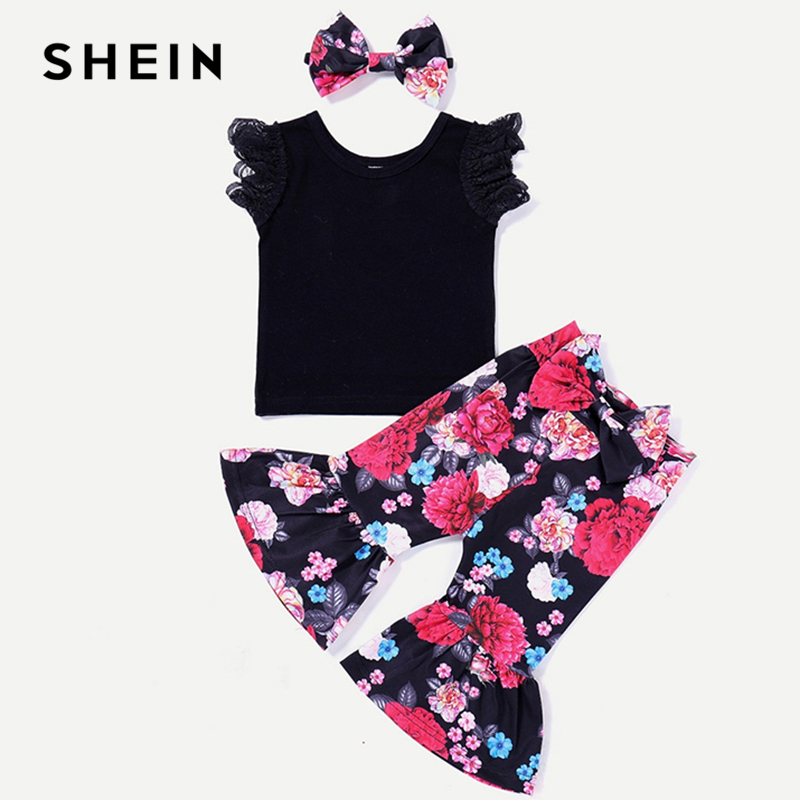 SHEIN Kiddie Girls Lace Sleeve T-Shirt And Bow Flared Pants With Headband Kids Set 2019 Summer Sleeveless Ruffle Hem Casual Sets new brand infant baby boys girls clothing sets sleeveless t shirt short pants cute cartoon mickey summer sleeveless kids cloth