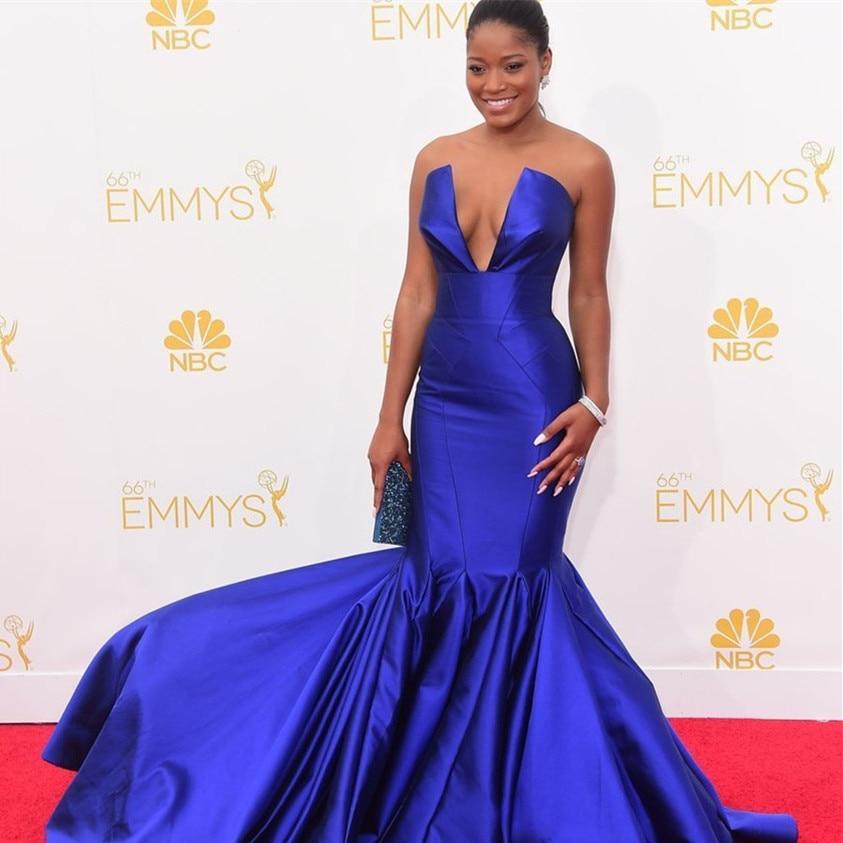 Elegant Royal Blue Mermaid Prom Gown Deep V Neck Satin Evening Dress For Wedding Party Custom Made