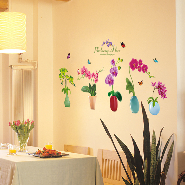 SHIJUEHEZI] Creative Vases Wall Sticker DIY Flowers Wall Decals for ...
