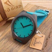 Negro de Madera Del Reloj de Japón Movimiento de Cuarzo 2035 Relojes De Madera Con piel de Vacuno Genuino Correa de Reloj de Moda Regalos
