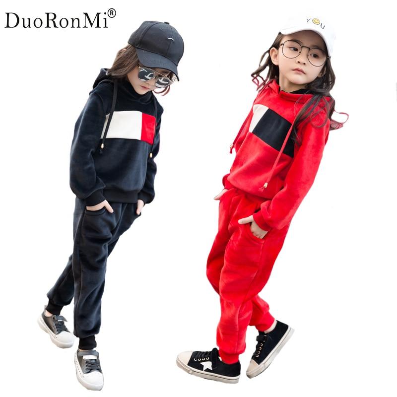 Girl clothing Sets New Brand Baby Girls Spring Autumn 2PCS Velvet Suit For Girl Casual Kids Sports Suit Sweatshirt Pant цены онлайн