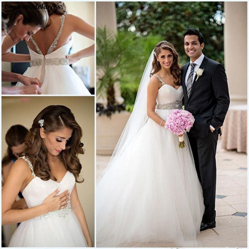 Saudi Arabic A-line Tulle Wedding Dresses Beaded Spaghetti Pleats Mariage Gowns Dubai Customized Vestido De Novia Playa 2019