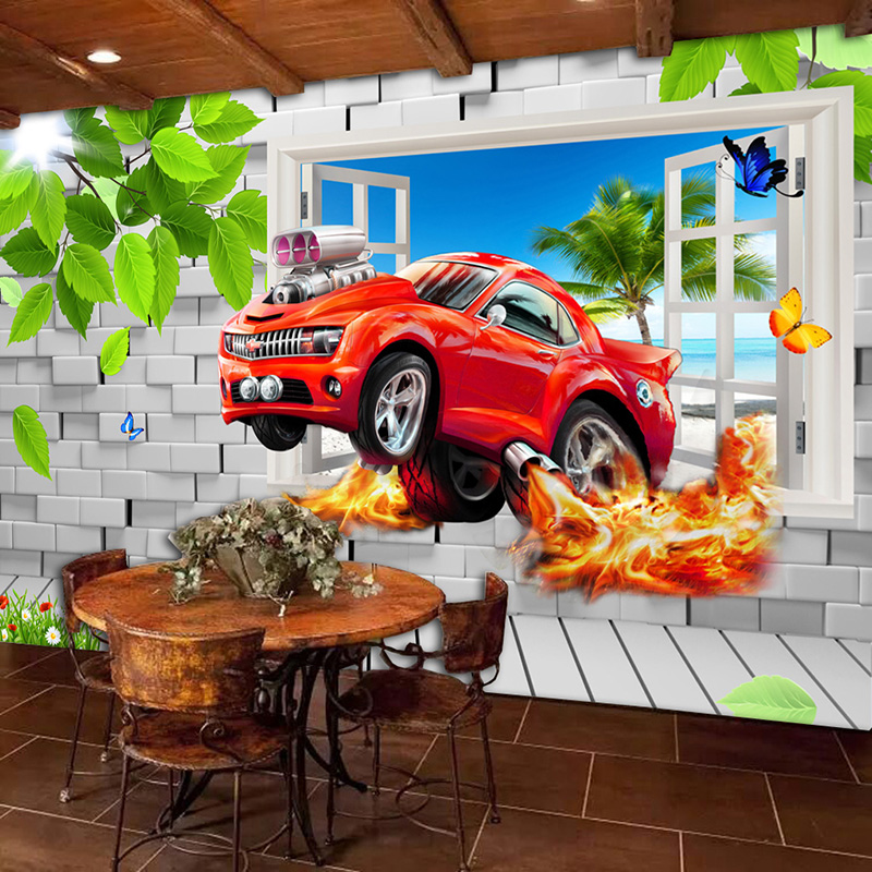 Pastoral Style Children Room Bedroom Wall Decoration Mural Wallpaper 3D Stereoscopic Window Cartoon Car Broken Wall Large Murals
