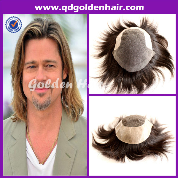 Mens Custom Toupee Gray Hair,High Quality